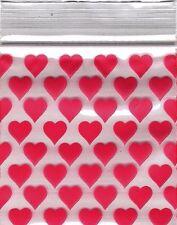 "Ziplock Baggies 2020 Apple 100 Mini ZIPLOCK Bags PRINTED Design 2"" X 2""(HEART)"