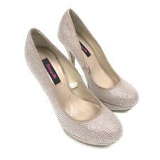 Betsey Johnson Betseyville Womens Size 9 Light Pink Sparkle Closed Toe Heels