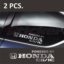 2 pcs. Powered by HONDA CIVIC Window Decal sticker emblem logo Silver