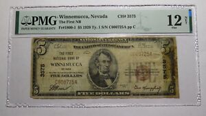 $5 1929 Winnemucca Nevada NV National Currency Bank Note Bill Ch. #3575 F12 PMG