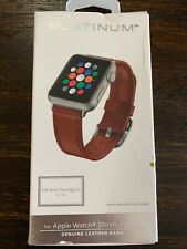 Platinum Band Leather Watch Strap For Apple Watch 38mm/40mm Papaya OPEN BOX NEW