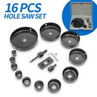 16pcs/Set Hole Saw Drill Bit Cutter Core Shaft For Plastic Wood 19-127mm 3/4/5''