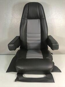 SEMI TRUCK DARK/LIGHT GRAY VINYL BOSTROM BUCKET SEAT CUSTOM UPHOLSTERED
