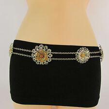 New Women Hip Waist Gold Metal Chain Link Fashion Belt Brown Flower Bead M L