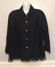 Woman's Solid Linen button down Black Top by Chico's Design size 1