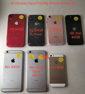 Lot of 7 Apple iPhone XR/XS/7/SE 2nd/2-6s/5s 64GB  Red  **Plz Read***