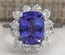 4.04 Carat Natural Tanzanite 14K White Gold Diamond Ring