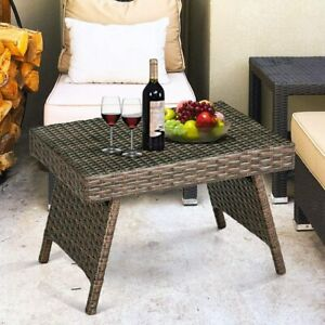 Outdoor Patio Rattan Wicker Coffee Table Poolside Garden Folding Side End Table