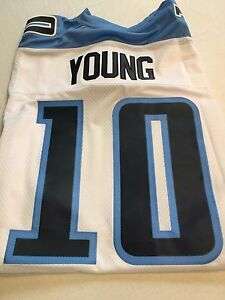 MEN'S VINCE YOUNG #10 RETRO TENNESSEE TITANS WHITE SEWN REEBOK Jersey NWT