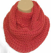 Superb Chunky Knit Orange Circle Loop Infinity Scarf Snood