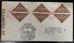 Costa Rica Cover To USA Triangle Stamps 1942