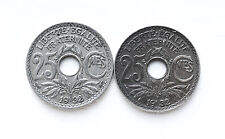 1932 25 CENTIMES FRANCE 2 COINS KM867a