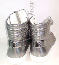 Christian Dior Metallic Silver Leather Lace Up High Top Sneakers Shoe 39.5 - 9.5
