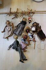 7 alte Marionetten gebraucht Sammlerstück mit Kleidung Drehorgelspieler 10-40cm