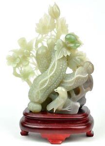 Certified Natural Hetian Nephrite Jade Carving/Sculpture Bird Statue