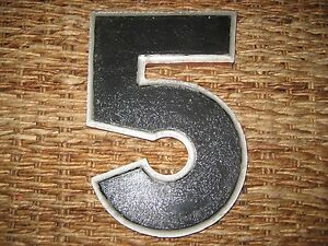 "Vintage/Antique Cast Metal Architectural Number ""5"" Wagner Sign Service Co."