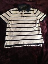 Men's TOMMY HILFIGER White Blue Striped Short Sleeve Polo Shirt! Size M