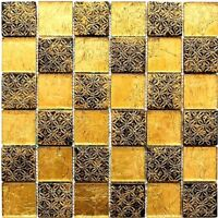 Glasmosaik schwarz gold mix Resin Wand Küche WC Bad Art:WB88-8OP7|1 Matte