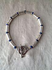 Robert Lee Morris Lapis & Sterling Silver Tube Toggle Bracelet 16.6 GW