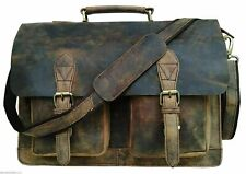 "Men's 15"" Retro Buffalo Leather Laptop Messenger Bag Office Briefcase Bag"