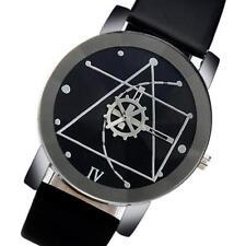 Mode Herren Uhren Edelstahl Leder Analog Quartz Armbanduhr NEU