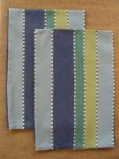 Set/2 Park Designs INDIGO Kitchen Towels - Blues, Greens Stripes