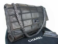Authentic CHANEL classic flap 2.55 Brown Patchwork Lambskin Leather