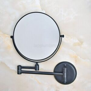 Black Wall Mount Makeup Mirror 8 Inch 1X 3X Magnifying Double Sided Mirror