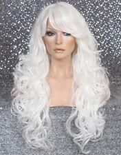 Long  Human hair blend Full Wig Curly bangs Heat OK White WBT