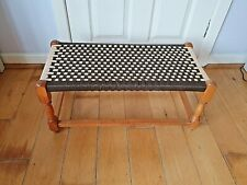 Vintage Large Retro Lovely  Wooden Stool with Vinyl String Seat