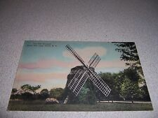 1940s THE OLD WINDMILL WATER MILL LONG ISLAND NY. HANDCOLORED POSTCARD