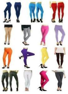 LADIES PLAIN FULL  LENGTH VISCOSE  HIGH WAISTED LEGGINGS & PLUS SIZES(2190-VIS)