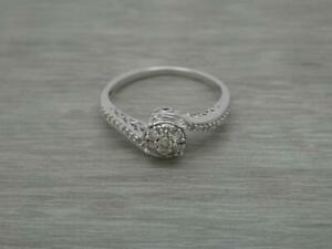 Stunning 9ct White Gold 0.33ct Diamond Round Cluster Twist Ring,Size S 1/2