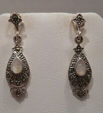 Marcasite 925 Sterling Silver Earrings Vintage Antique Estate~Mother of Pearl,