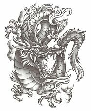 """DRAGON SUPER SIZE EXTRA LARGE GREY AND BLACK 6.25"""" x 8"""" AWESOME Temporary Tattoo"""
