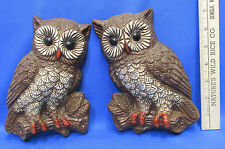 Vintage Set Of 2 Owls Sitting On Limbs Decorative Wall Hangings Brown & Cream