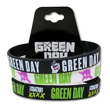 GREEN DAY 3 PC BLACK WHITE BLACK SILICONE WRISTBAND NEW NWT QUATRO! XXXX