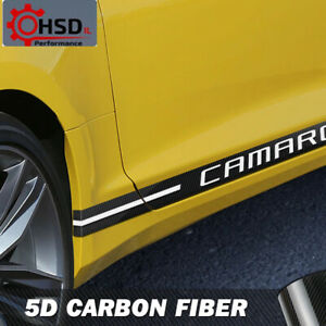 Carbon Fiber Vinyl Door Side Skirt Racing Stripes For Chevrolet Camaro RS LS SS