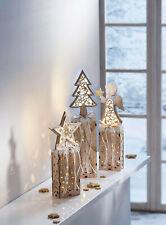 LED-Dekosäulen Christmas 3er-Set Lichtdekoration aus Holz