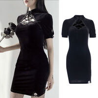 Gothic Punk Women Harajuku Cheongsam Dress Retro Costume Bodycon Short Dress
