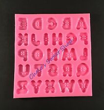 Buttons Alphabet Letter Silicone Mold - Button Letters Mould  Botones DIY SM0200