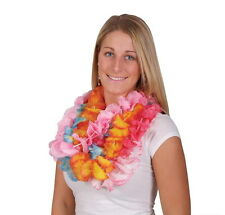 LOT OF 24 HAWAIIAN CARNATION FLOWER TWO TONE LEIS LUAU BEACH PARTY CARNIVALS