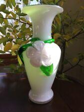Vintage Glass Vase Hand Blown Art Glass Green, White, Clear - Flower Vase