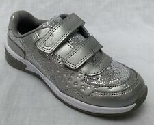 BNIB Clarks Girls Piper Play Silver Leather Lights Trainers E/F/G/H Fitting
