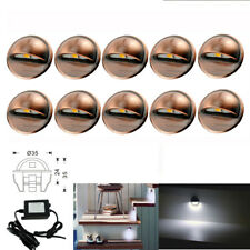 10pcs 35mm LED Deck Step Lights Cool White Half Moon Outdoor Garden Stair Lamp