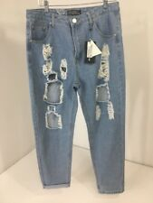 KENDALL PRETTYLITTLETHING WOMEN'S DISTRESSED MOM JEANS LIGHTWASH UK:14/US:10 NWT