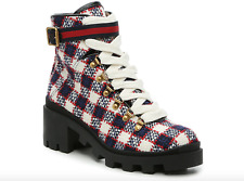 Brand New GUCCI Trip 40 GG Tweed Ankle Lace up Bootie Size 8 US / 38 EU  ($980)
