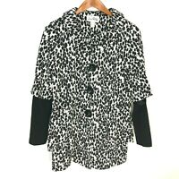 Joseph Ribkoff Black White Printed Large Button Sweater Jacket Women's Size 4