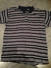 Cedarwood Navy And White Striped Cotton Striped Polo Shirt Size Large 42 Inch