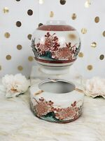 Kutani Japanese Hand Painted Ashtray And Vase/Jar Set
